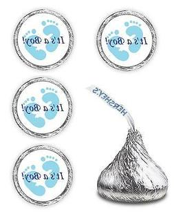 108 ITS A BOY BLUE FOOTPRINTS BABY SHOWER PARTY KISSES LABEL