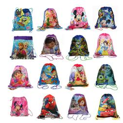12x Disney Party Favors Drawstring Backpack Sling Tote Gym B