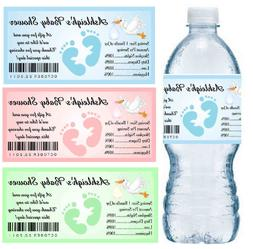 30 BABY SHOWER WATER BOTTLE LABELS PARTY FAVORS Waterproof I
