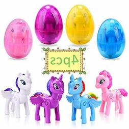 4 Pack Deformation Easter Eggs with Toys Inside Unicorn Them