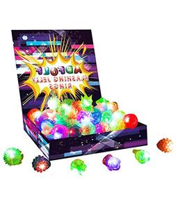 36 Pack Flashing Led Bumpy Rubber Rings Party Jelly Light Up