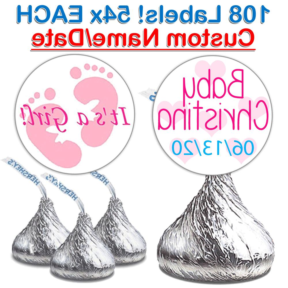 108 Baby Girl Shower Fits Hershey Kiss Stickers Party Favors