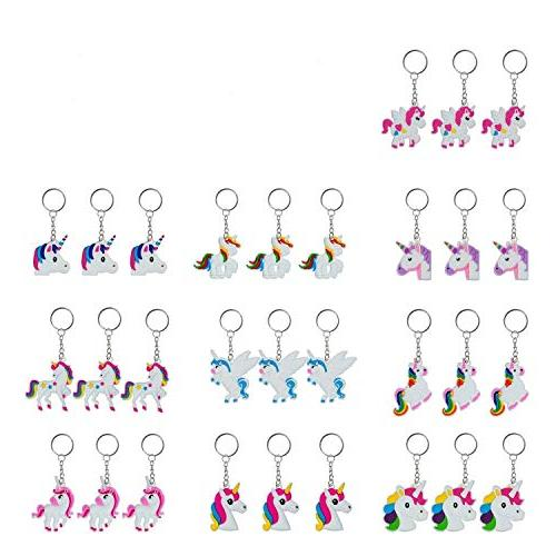 YUEAON 30 Rainbow Unicorn Keychain Supplies gifts for